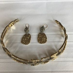 Crystal Encrusted Hammered Gold Plated Earrings